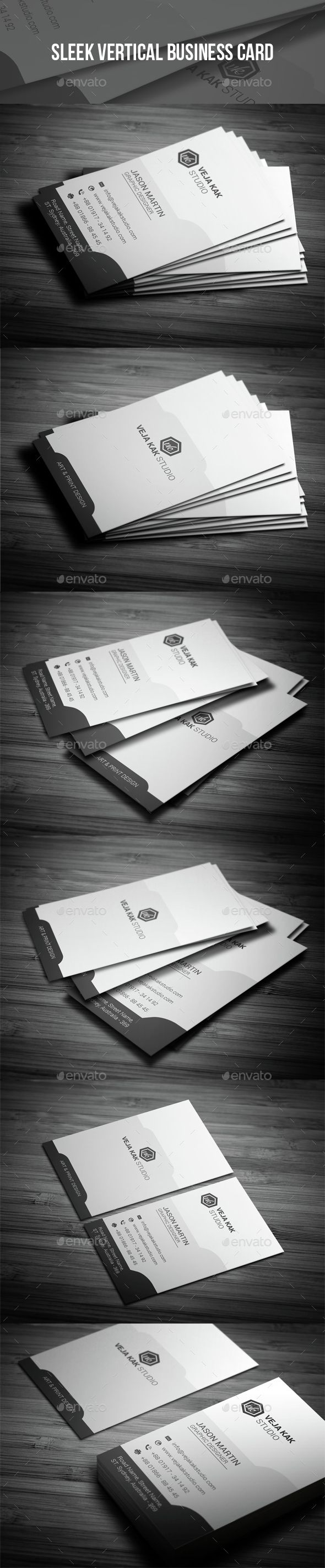 Sleek Vertical Business Card Template PSD. Download here: http://graphicriver.net/item/sleek-vertical-business-card/14954756?ref=ksioks