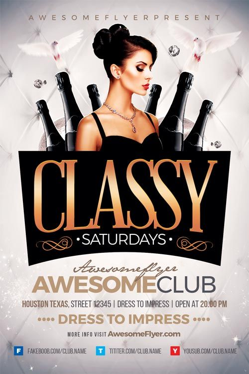 Classy Saturdays Flyer Template - https://ffflyer.com/classy-saturdays-flyer-template/ Enjoy downloading the Classy Saturdays Flyer Template created by Awesomeflyer   #Classy, #Club, #Dance, #Dj, #Electro, #Event, #Gold, #Nightclub, #Party, #Vip