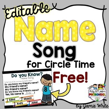 Circle Time is the perfect opportunity to let young children (preschool, pre-k, kindergarten, special ed) practice their names. Use this song to work on name identification and rhyming.Try this EDITABLE NAME SONG and save TONS of TIME! Just enter your class list once, then print the song and name cards that you can use during circle time with your preschoolers or young learners.Use a new song every 3-4 weeks to give the students time to learn it, but also to keep it fun and fresh.