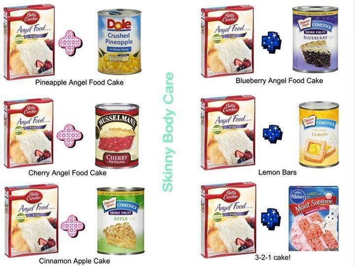 Angel Food Cake variations -          Pineapple Angel Food Cake Recipe:... Just two ingredients!! 1 large can crushed pineapple w/juice and 1 box angel food cake mix. Blend in large bowl and bake 350 for 30 min. in 9x13 ungreased pan.