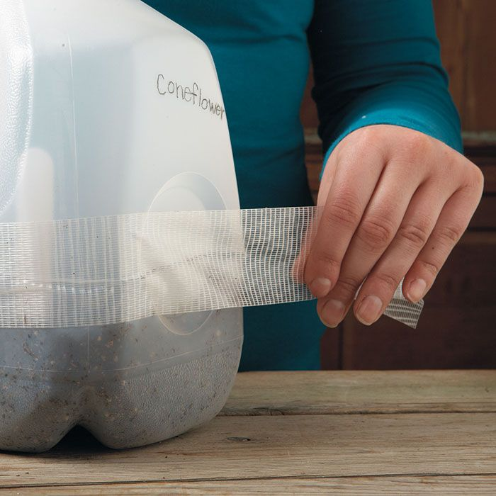 Tape it upAfter you've planted the seeds, tape the top and bottom of the milk jug together. Use either the packing or clear duct tape — they both hold up just fine outside. You'll be taking it off later in the season when the temperatures warm up.