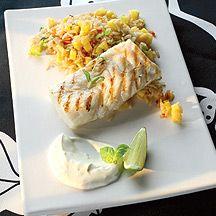 (8 pp) Grillad fisk med ris och limesås