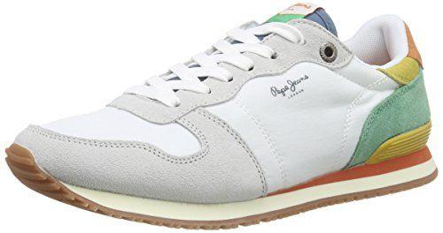 Pepe Jeans London GABLE RETRO, Damen Sneakers, Weiß (800WHITE), 41 EU - http://on-line-kaufen.de/pepe-jeans/41-eu-pepe-jeans-gable-retro-damen-sneakers