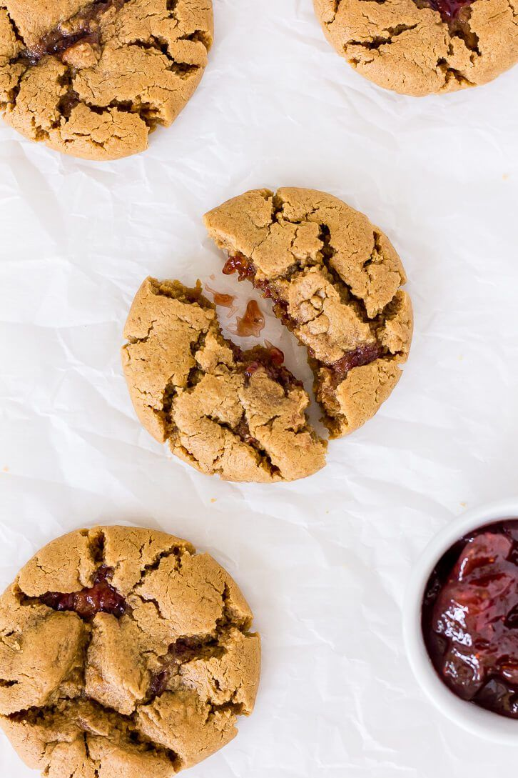 Flourless Peanut Butter And Jelly Cookies Recipe Flour Covered