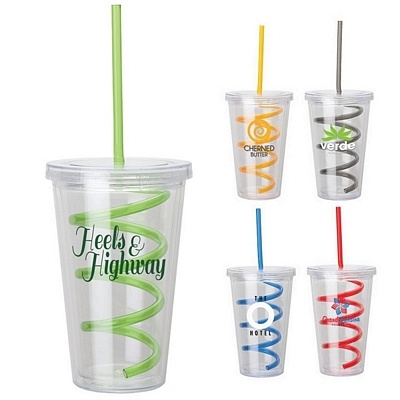 Promotional Sovrano 16 oz. Curley Straw Tumbler #KM6111 | Customized Acrylic Straw Tumblers | Promotional Sovrano Acrylic Straw Tumblers #promoproducts #advertising #drinkware #straws