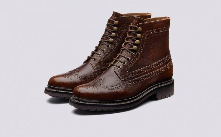 Sebastian | Mens Brogue Boot in Vintage Tan Grain Calf Leather with a Commando Sole | Grenson Shoes - Three Quarter View