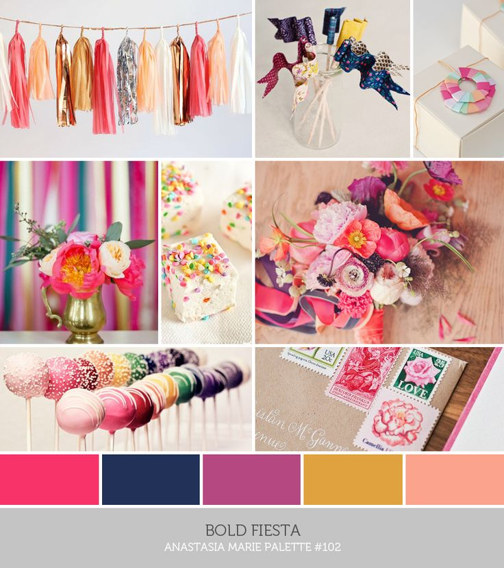 inspiration board: bold fiesta #pink #hotpink #navy #magenta #goldenrod #yellow #blue (see blog post for image credits)