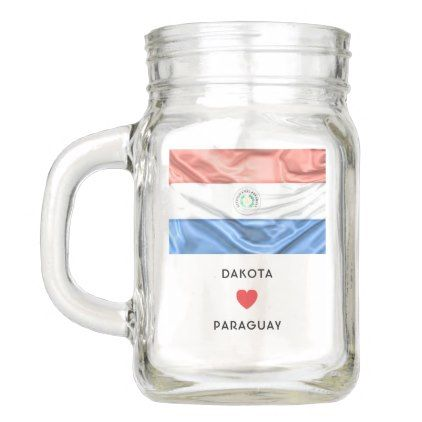 #Custom I Heart Flag of Paraguay Mason Jar - #travel #trip #journey #tour #voyage #vacationtrip #vaction #traveling #travelling #gifts #giftideas #idea