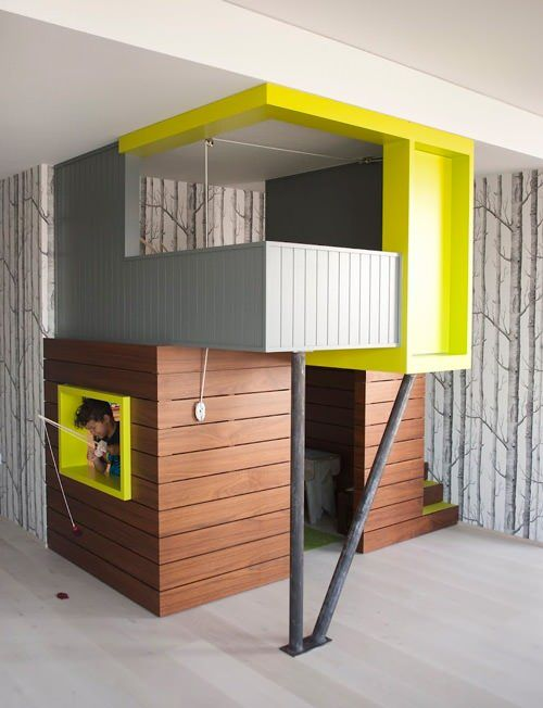 Love everything about this!! The wood, the perfect shade of yellow-green, the tree wallpaper, everything!