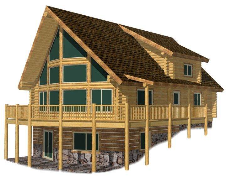 Sundown chalet cabin sundown chalet by lazarus log homes for Chalet style home kits