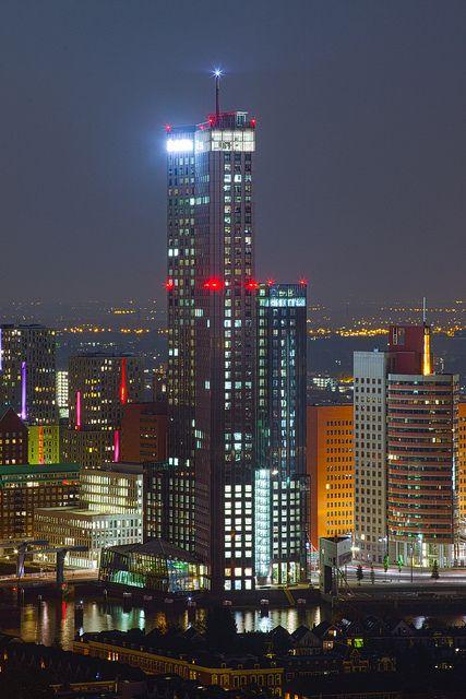 Maastoren by night, Rotterdam