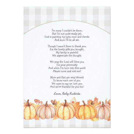Fall pumpkin baby shower poem thank you note card