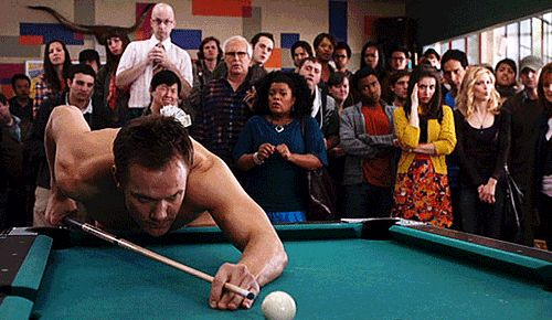 "When he played pool. | Community Post: 16 Blissful Moments From Jeff Winger On ""Community"""