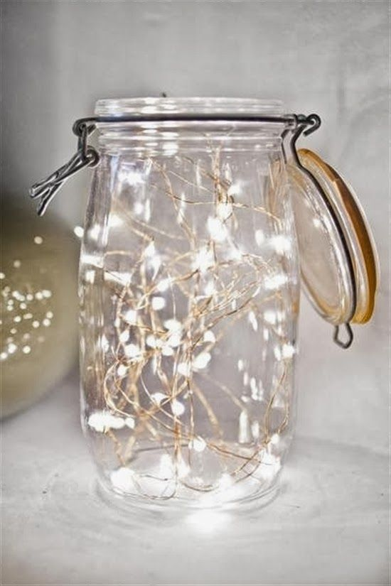 Mason jar + delicate twinkle lights = Easy holiday decorating idea.