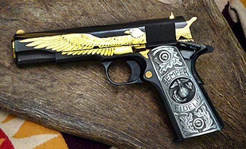 Pewter 1911 Gun Grips Usmc Marine Corps Eagle Semper Fidelis Engraved Design by Cypress Collectibles - Best 45 Pistol