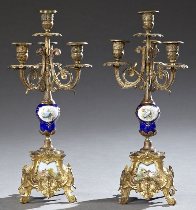 Pair of Sevres Style Porcelain and Gilt Spelter Four Light Candelabra, c. 1900 - Sold $200