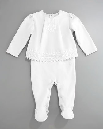 Eyelet Top & Footie Set, White by Baby Dior at Bergdorf Goodman.