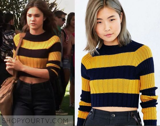 The Fosters: Season 3 Episode 12 Callie's Yellow & Blue Cropped Sweater