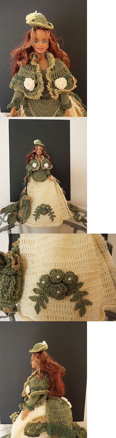 Custom Handmade Barbie Clothing: Ooak Barbie In A Sage Green Gold And Cream Crochet Gown Hat And Parasol BUY IT NOW ONLY: $45.0