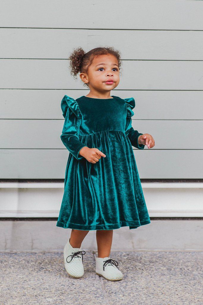 Green velvet Christmas dress for Christmas 2016. Shop all Christmas dresses for girls from cuteheads.com.