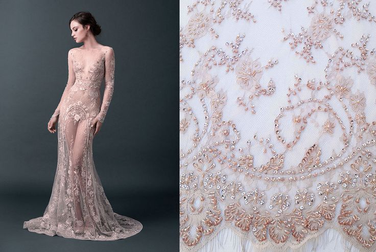 This haute couture handmade lace, embroidered with beads and pearls is available now here: https://www.malagoli.ro/en/product/md-187 #MalagoliFabrics #Fabrics #Lace #HauteCouture #Fashion #Dress #Gown #Embroidery