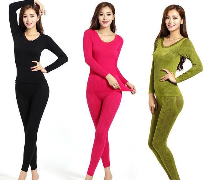 10 Colors Women Thermal Underwear Sets Autumn Winter Body Shaping Long Johns Female Warm Slim Underwear Sets