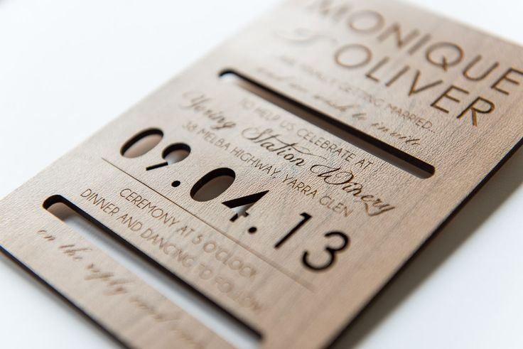 Laser etched and cut wood veneer invitation. Go to www.lovemytype.com.au
