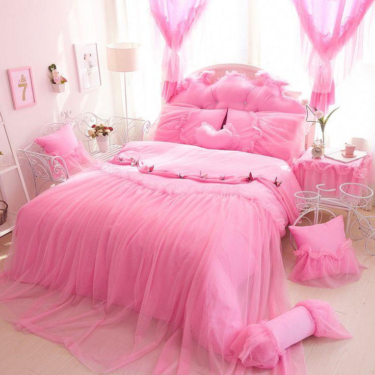 8pc. Luxury Princess Lace & Ruffles Cotton Pink Purple Duvet Cover Bedding Set #OEM #Princess