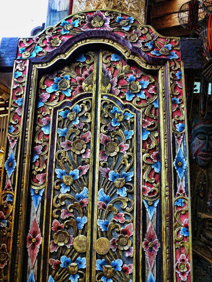 Indian door, flower carved…