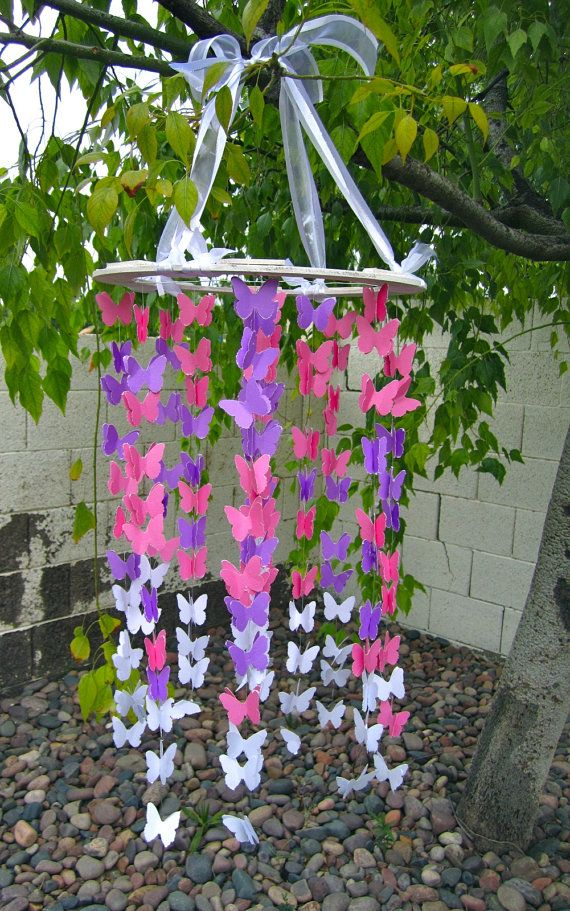 Girly Purple and Pink Butterfly Mobile for Girl's Bedroom- Nursery, Mothers Day Gift, Baby, Room, Children's Bedroom Decoration