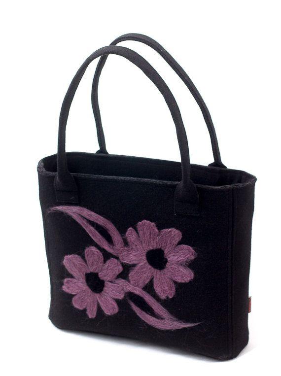 Black arm & handbag with a violet floral motif. Violet flowers by Anardeko