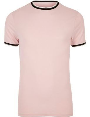 River Island Mens Pink muscle fit ringer T-shirt