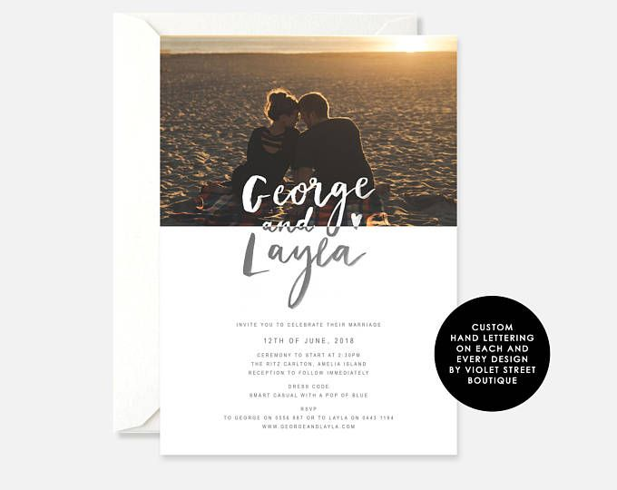 Printable PDF Photo Wedding Invitation, Modern Wedding Invitation, Beach Wedding Invitation, Printable Indie Wedding Invitation