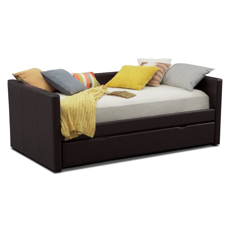 Perfect Match. Mixing sleepover fun with grown-up style, the Carey Brown Twin daybed is a match made in heaven for any kid. The pull-out trundle provides sleeping space for optimum convenience, and the low arms and back make for a clean, stylish look. The sleek, brown faux leather with designer accent stitching is comfortable and hip at the same time.  (Mattresses and accessories are not included.)