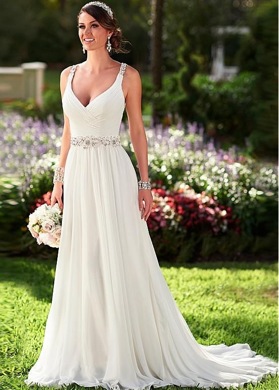 Elegant Chiffon Spaghetti Straps Neckline Natural Waistline Sheath Wedding Dress