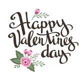 Affiche élégante d'amour avec des fleurs Vecteur de vintage marquant avec des lettres la Saint-Valentin heureuse Photographie stock