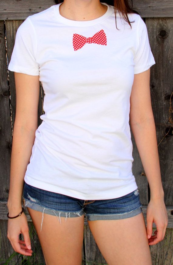 Classy Red Polka Dot Bowtie Women's T-shirt by TopCotton on Etsy