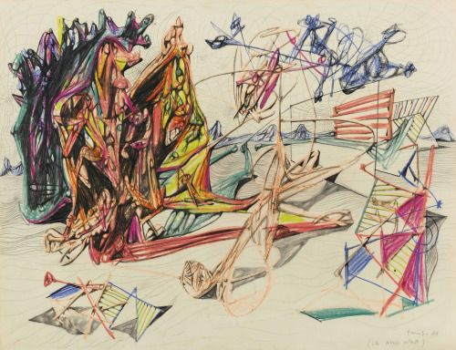 transistoradio: Roberto Matta (1911-2002), Les Nerfs Volant (1938), coloured pencils and pencil on paper, 66 x 51 cm. Via Sotheby's.