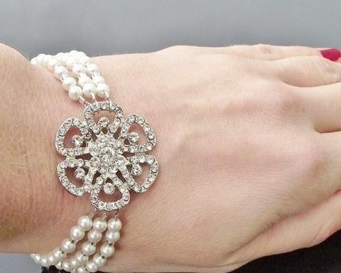 Vintage Style Crystal and Pearl Bracelet, Phoebe