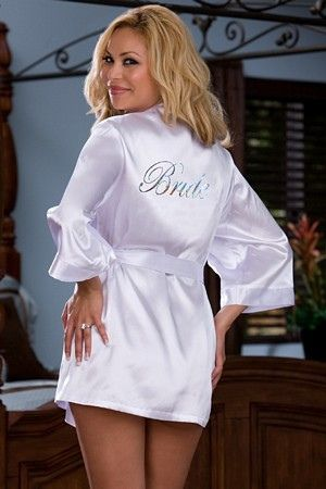 Charmeuse robe set with attached belt and Bride silver heat transfer on back, and includes matching babydoll with adjustable low back and padded lingerie hanger.