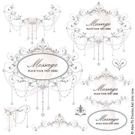 Elegant Wedding DIY Invitations Digital Frame Chandelier Floral Heart Flourish Border Gray Grey Gorgeous VECTOR Eps Png Clip Art Set 10446 by MayPLDigitalArt on Etsy