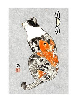 horitomo cat with Koi ** Learn more about #cats with Ozzi Cat Magazine >> http://OzziCat.com.au **