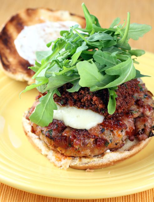 The famous pork burger with romesco from Lucques in Los Angeles. Learn ...