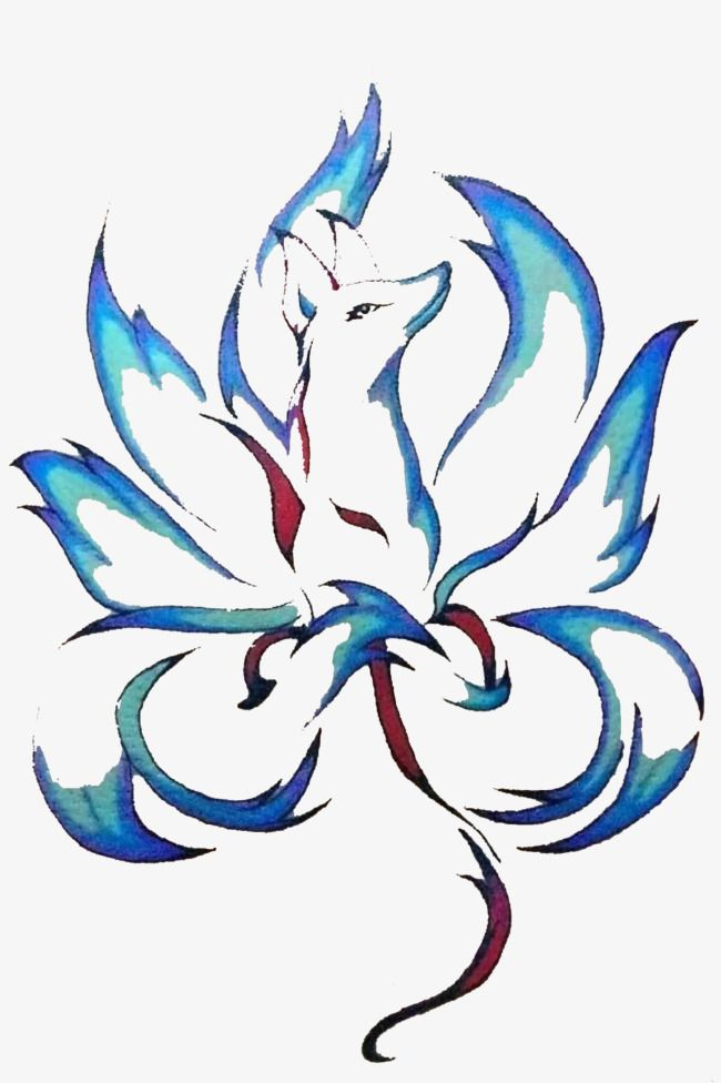 Hand Painted Blue Nine Tail Fox Picture Material Png And Clipart Fox Tattoo Design Fox Artwork Fox Art