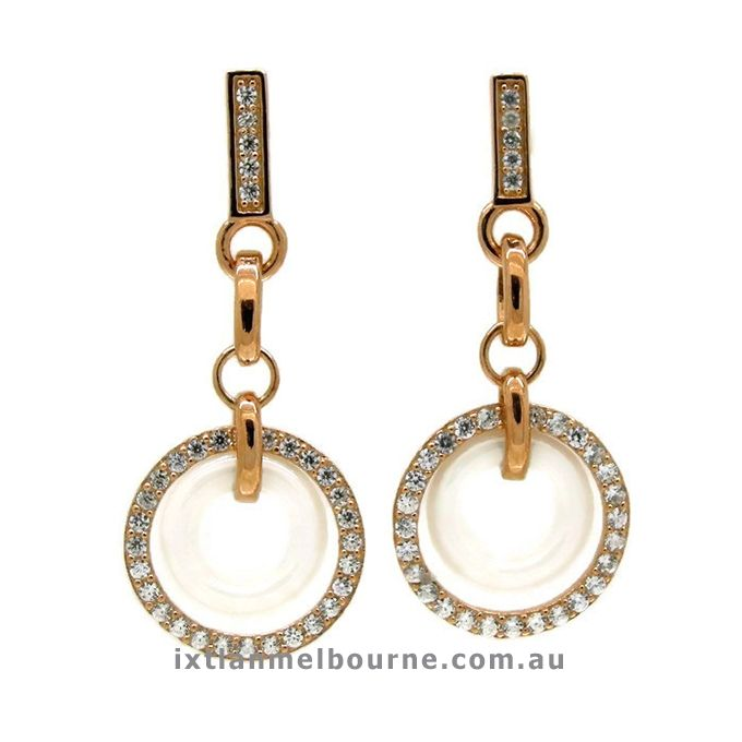 Chic and Elegant White Ceramic and Rose Gold Plated Earrings featuring Clear Diamonties, Exclusive to Ixtlan Melbourne Jewellery Store in Gertrude Street, Fitzroy