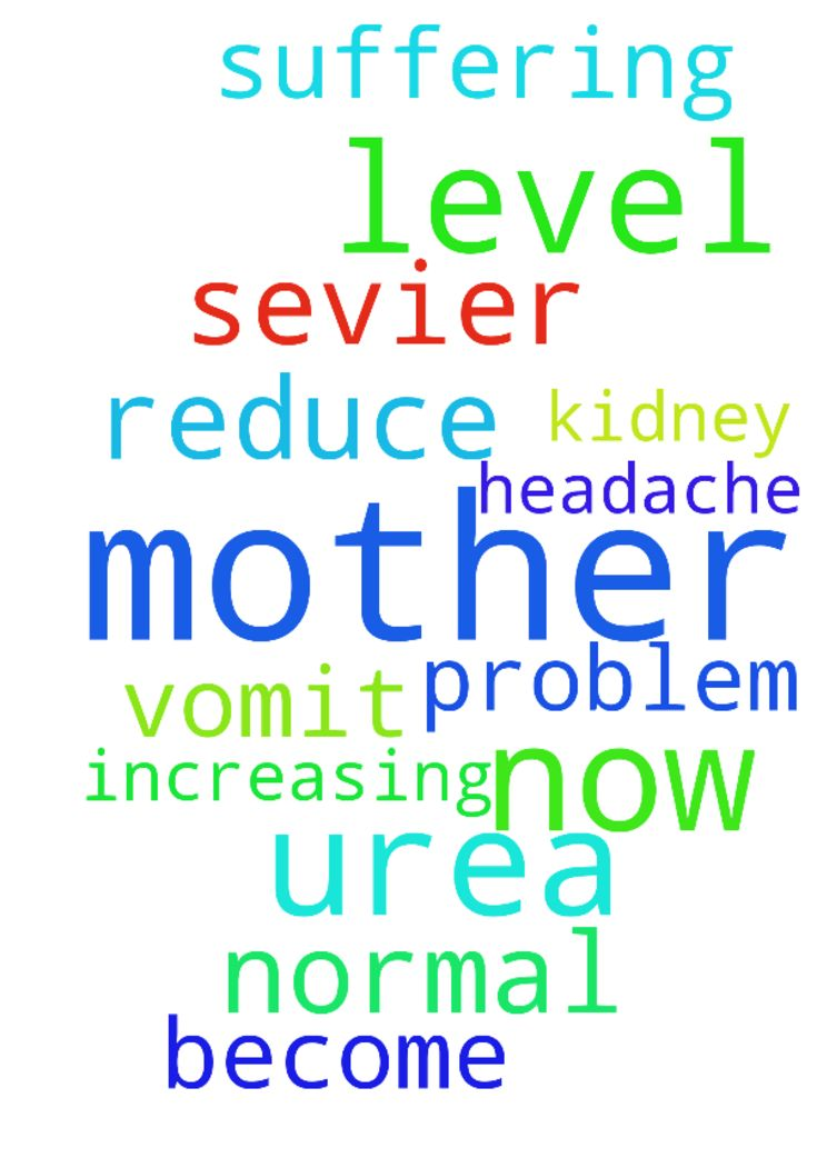 Please pray for my mother now she is - Please pray for my mother now she is suffering from Sevier headache and vomit, my mother having kidney problem her urea level is increasing pray for my mother to reduce urea level and become normal.  Posted at: https://prayerrequest.com/t/nQM #pray #prayer #request #prayerrequest