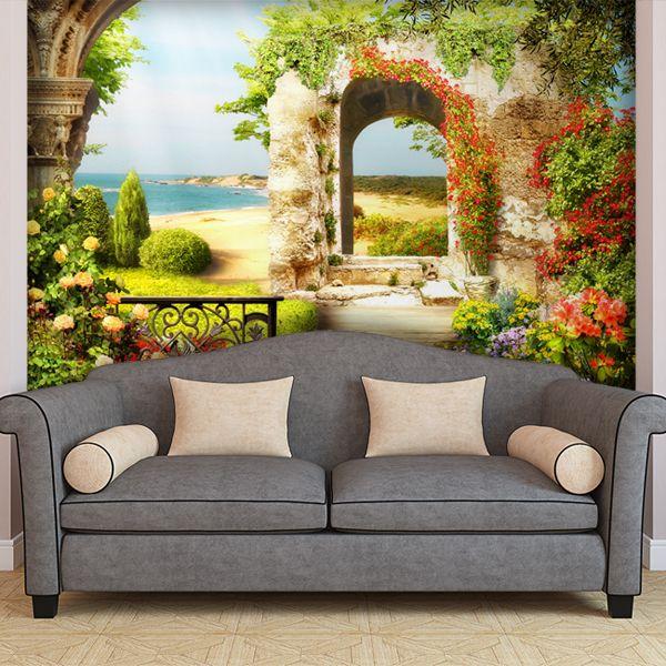 Fotomurali giardino sulla spiaggia #fotomurale #mural #parede #muro #decorazione #deco #StickersMurali
