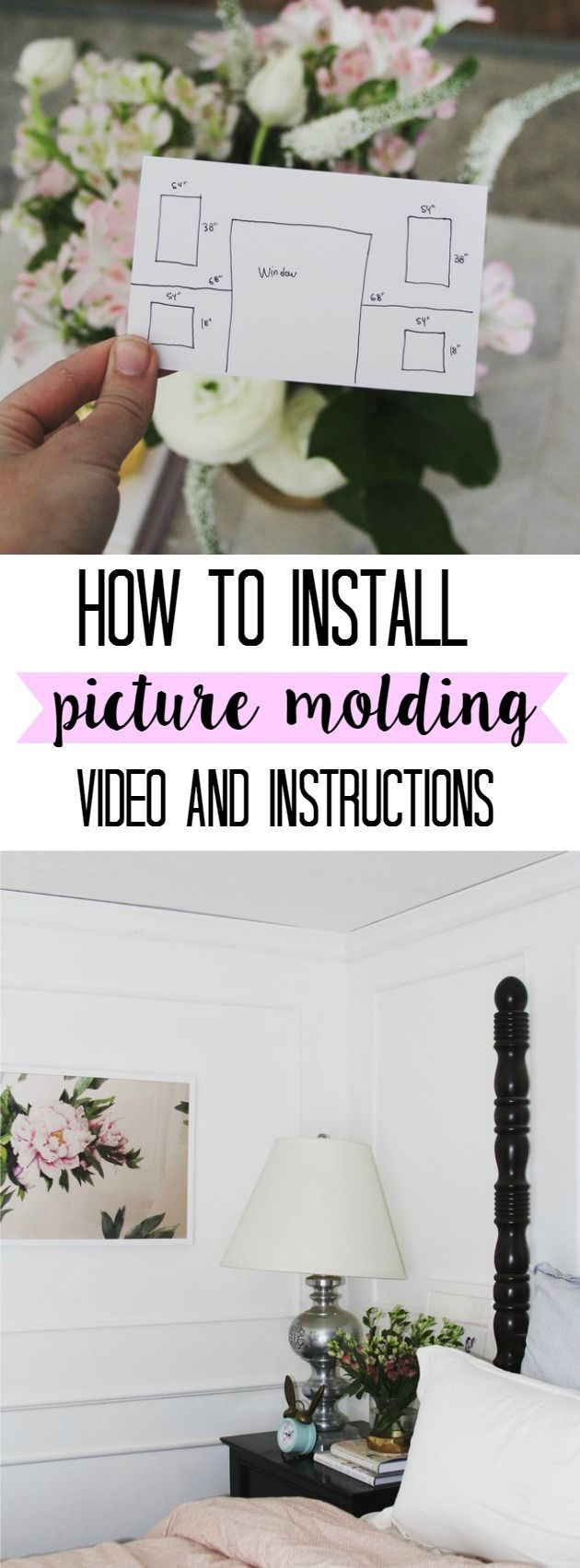 Bedroom Update- How to Put up Picture Molding