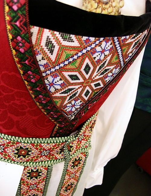 The intricately detailed belt and bodice of a Hardangerbunad.
