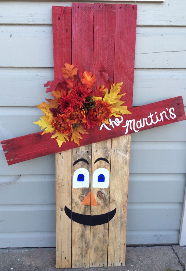 Scarecrow made from pallet